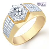 Sukkhi Gold And Rhodium Plated Solitaire Cz Ring For Men(122grk700) - Othermen\'sfashion By Sukkhifashion