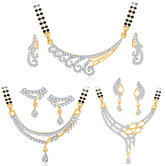 Sukkhi Marvellous Gold Plated Cz Set Of 3 Mangalsutra Set Combo For Women