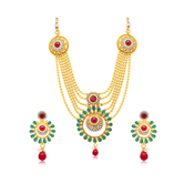 Sukkhi Excellent 6 String Gold Plated Long Haram Necklace Set For Women