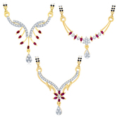 Sukkhi Artistically Gold Plated Cz Set Of 3 Mangalsutra Combo For Women