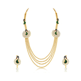 Sukkhi Luxurious Peacock 4 String Gold Plated Long Haram Necklace Set For Women