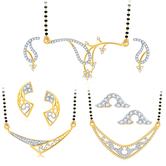 Sukkhi Exotic Gold Plated Cz Set Of 3 Mangalsutra Set Combo For Women