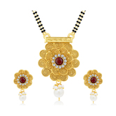 Sukkhi Marquise Jalebi Gold Plated Mangalsutra Set For Women
