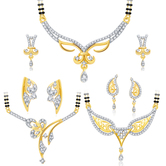 Sukkhi Lavish Gold Plated Cz Set Of 3 Mangalsutra Set Combo For Women