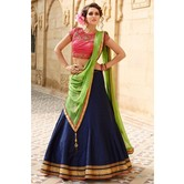 Festival Special Designer Banglori Silk Pink And Navy Blue Embroidered Lehegha Choli