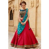 Festival Special Designer Banglori Silk Navy Blue And Red Embroidered Lehegha Choli