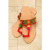 Embroidered Chappal - Beige And Red Clay Color