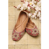 Embroidered Juttie - Beige And Aurora Red Color