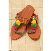 Embroidered Chappal - Apricot Orange Color