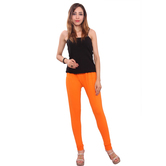 Purvahi Cotton Lycra Solid Orange Leggings.
