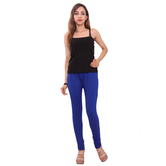 Purvahi Cotton Lycra Solid Blue Leggings.