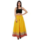 Beautiful Yellow Printed A-line Cotton Long Skirt
