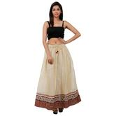 Beautiful Off White Printed A-line Cotton Long Skirt