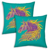 Designer Fancy Horse Printed Filled Cushions Pair 9642