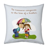 Cute Brother Sister Under Umbrella Printed Cushion 949