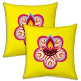 Pink Flower Printed Design Fancy Yellow Filled Cushions Pair 9682