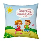 Cute Brother N Sister Going School Printed Cushion 950