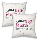 Big Mister To A Little Sister Quote Soft Cushions Pair
