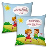 Cute Brother N Sister Going School Print Cushions Pair