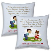 Emotional Printed Quotes Blue Cushion Pair For Brother