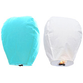 Kaarigar White N Turquoise Set Of 2 Paper Made Sky Lanterns 208
