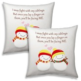 Snow Boy Girl Printed White Cushions Pair For Siblings