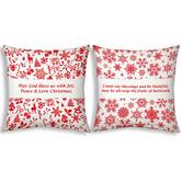Little India Printed Style White Filled Cushions Pair 147
