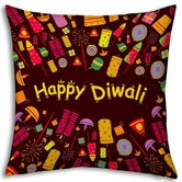 Little India Relationship Tree Printed Yellow Filled Cushion 974
