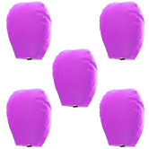 Kaarigar Amazing Set Of 5 Magenta Paper Made Sky Lanterns 509