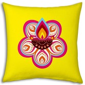 Little India Pink Flower Printed Design Yellow Filled Cushion 968