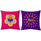 Flower Printed Design Fancy Colorful Filled Cushions Pair 133