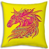 Little India Horse Design Printed Yellow Filled Cushion 963