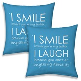 Emotional Print Quotes Blue Cushions Pair For Brothers