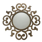 Round Curly Framed Brown Textured Mirror