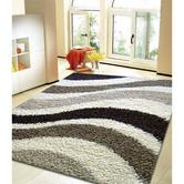 Presto Bazaar Gray N Black Colour Abstract Shaggy Carpet (4 X 6 Feet)