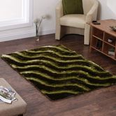 Presto Bazaar Green Colour Abstract 3d Shaggy Carpet (3 X 5 Feet)