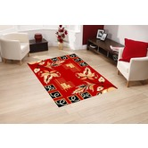 Presto Bazaar Red Colour Geometric Carpet (3 X 5 Feet)