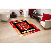Presto Bazaar Red Colour Geometric Carpet (4 X 6 Feet)