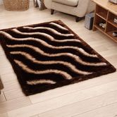 Presto Bazaar Brown N Beige Colour Abstract 3d Shaggy Carpet (3 X 5 Feet)