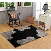 Presto Bazaar Black N Gray Colour Abstract Shaggy Carpet (3 X 5 Feet)