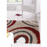 Presto Bazaar Cream N Red Colour Abstract Shaggy Carpet (3 X 5 Feet)