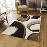 Presto Bazaar Brown N Beige Colour Abstract Shaggy Carpet (3 X 5 Feet)
