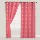 Presto Bazaar Red Colour Abstract Jacquard Window Curtain ( Set Of 2).