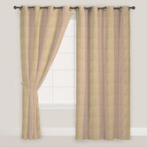 Presto Bazaar Pink N Gold Colour Abstract Jacquard Window Curtain ( Set Of 2).