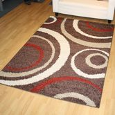 Presto Bazaar Brown N White Colour Abstract Shaggy Carpet (3 X 5 Feet)