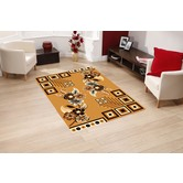 Presto Bazaar Gold Colour Geometric Carpet (3 X 5 Feet)