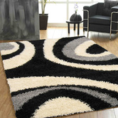 Presto Bazaar Black N White Colour Abstract Shaggy Carpet (3 X 5 Feet)
