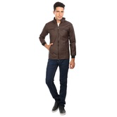 Nu Abc Garments Brown Faux Leather Jackets For Mens