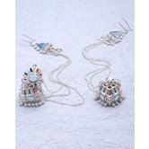Stylish Silver Plated Jhumki Earrings With Chain Support For Women