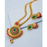 Gold Plated Alloy Pendant Set With Green And Red Details